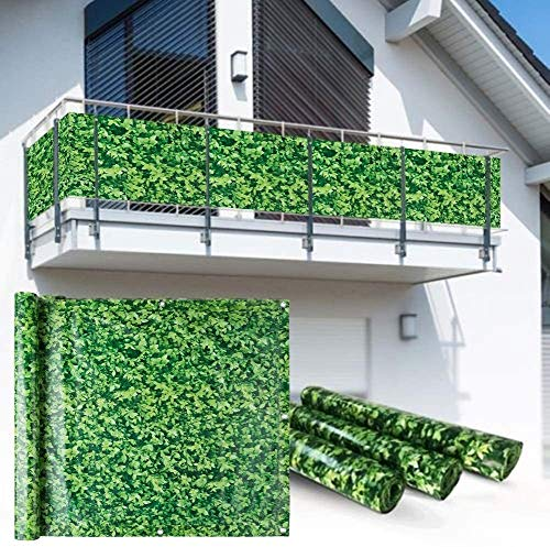 YZJL Decorative Fences Private Or Industrial Fence Screen 450GSM Anti-UV Fasteners Decorated Balcony Privacy Fence garden fencing (Color : Boxwood Look, Size : 0.9x3m)