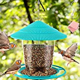 Bird Feeders for Outside - Durable Hanging Wild Bird Feeder, Wide Mouth, Easy to Fill & Clean, Round Shaped with Roof, Perfect for Garden Yard Outdoor Decoration Green