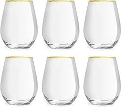 Libbey Vattenglas Atlin - 350 ml / 35 cl - Set På 6 Stk. - Gyllene Kant - Klassisk - Festlig