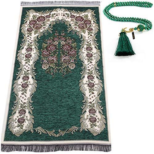 Muslimischer Gebetsteppich mit Gebetskette | Janamaz | Sajjadah | Weiche islamischen Gebetsteppich | Islamische Geschenke | Gebet Teppich Matte, Chenillegewebe, Grün