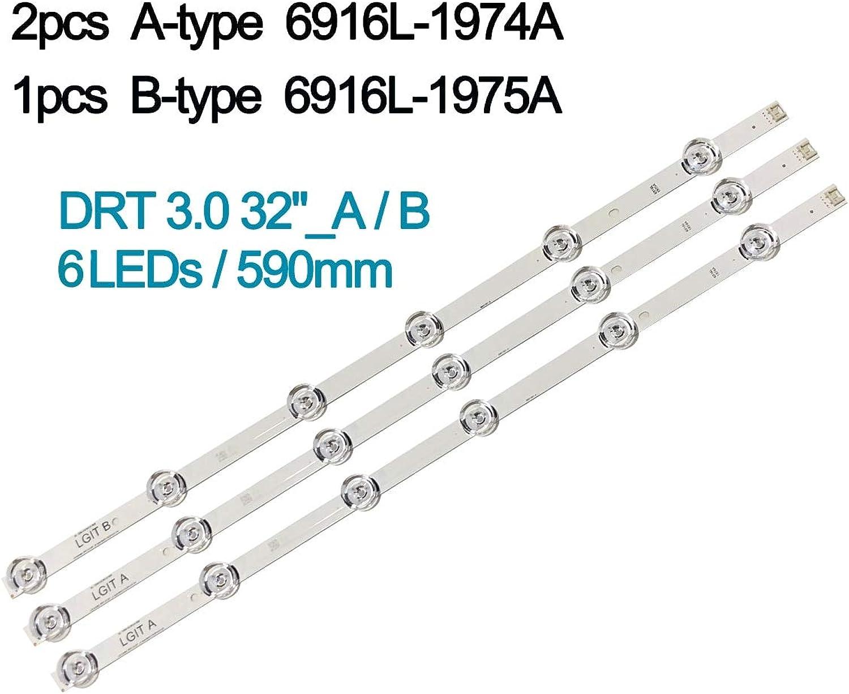 Calvas 100% New 3 PCS(2A 1B) LED Backlight Strip for LGIT A B for LG innotek DRT 3.0 32 A B WOREE TV 32MB25V 6916l1974A 1975A 2223A  (color  10 lot)