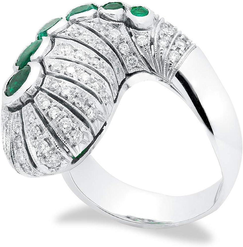 B.&c. gioielli anello donna completamente fatto a mano in oro bianco, smeraldi colombiani e diamanti vvs an 10