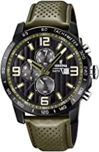 Festina `The Originals Collection` Men`s Quartz Watch with Black Dial Chronograph Display and Green Leather Strap F20339/2