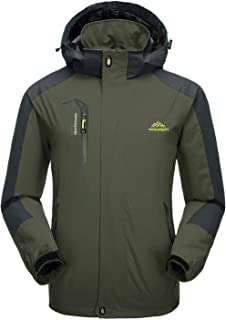 CRYSULLY Men's Spring Fall Mountain Windproof Hiking Thin Coat Outdoor Jackets Removable Hood