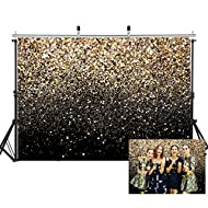 SJOLOON Black and Gold Backdrop Golden Spots Backdrop Vinyl Photography Backdrop Vintage Astract Background for Family Birthday Party Newborn Studio Props 11547(7x5FT)