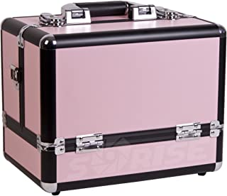 Sunrise Marcello Makeup Case Professional Nail Travel Organizer Box with 3 Tiers Accordion Trays, Pink Matte, 5 Pound