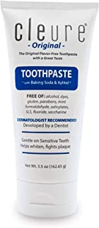 Cleure Flavor-Free, Mint-Free Toothpaste with Baking Soda & Xylitol | Gluten-Free, Fluoride-Free, SLS-Free (5.5 oz)
