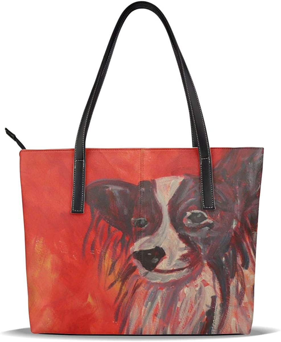 Papillon Dog Philadelphia Mall Puppy Branded goods Red Art PU Pattern Han Casual Leather Printed