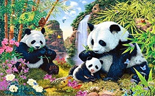 5D Diamond Painting Kit Broche DIY Broderie Cross Stitch Arts Artisanat pour décoration murale à domicile 11,8 * 17,7 pouces (30 * 45 cm) Famille Panda