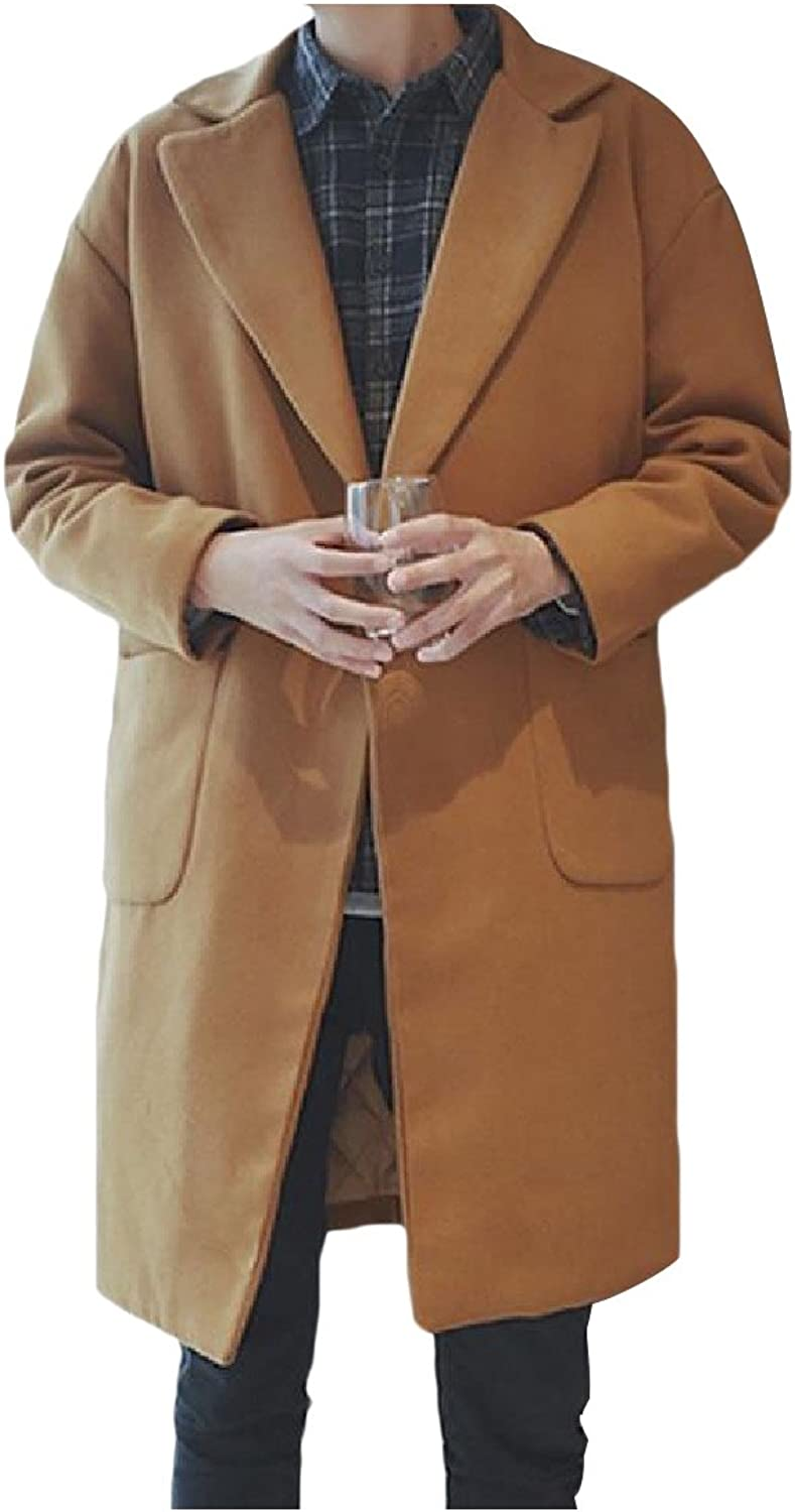 5b6a13a65 Comfy Men Vintage Quilted Thickened Button Down Woolen Trench Coat ...
