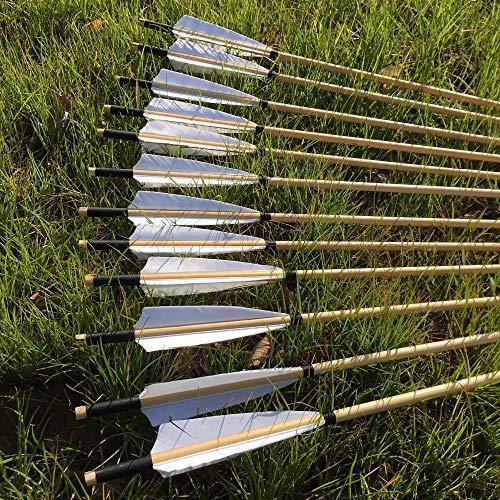 IENPAJNEPQN 12 / 24PCS 32 '' Hermosa Pluma Blanca de Madera Tradicional Turquía Flecha con el Objetivo Piont por 20-70 SII Longbow (Color : 12PCS)