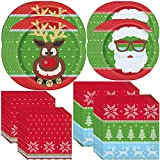 Unique Ugly Sweater Christmas Party Bundle   Luncheon & Beverage Napkins, Dinner & Dessert Plates   Christmas Table Supplies, Party Decoration