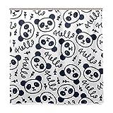BALII Bali Doodles Cute Panda Duschvorhang 182,9 x 182,9 cm Polyester Wasserdicht mit 12 Haken für Badezimmer