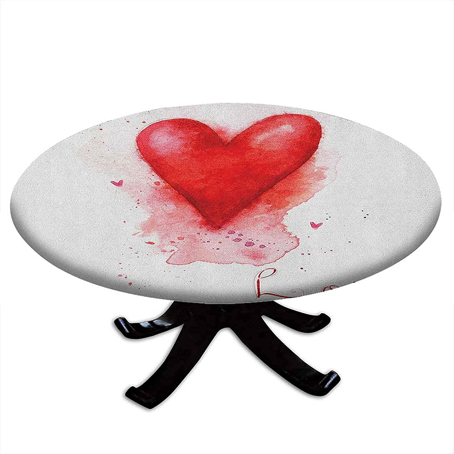 Round Tablecloth with Elastic Form Edges Max 47% OFF Watercolor online shop Heart