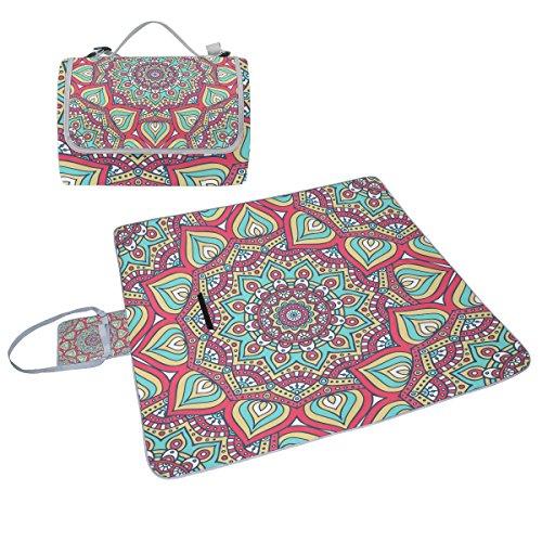 coosun Ethnic Floral Mandala Muster Picknick Decke Tote Handlich Matte Mehltau resistent und wasserfest Camping Matte für Picknicks, Strände, Wandern, Reisen, Rving und Ausflüge