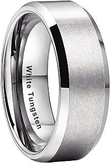 iTungsten 4mm 6mm 8mm Silver/Black/White/Gunmetal/Gold/Rose Gold Tungsten Rings for Men Women Wedding Bands Beveled Edges ...