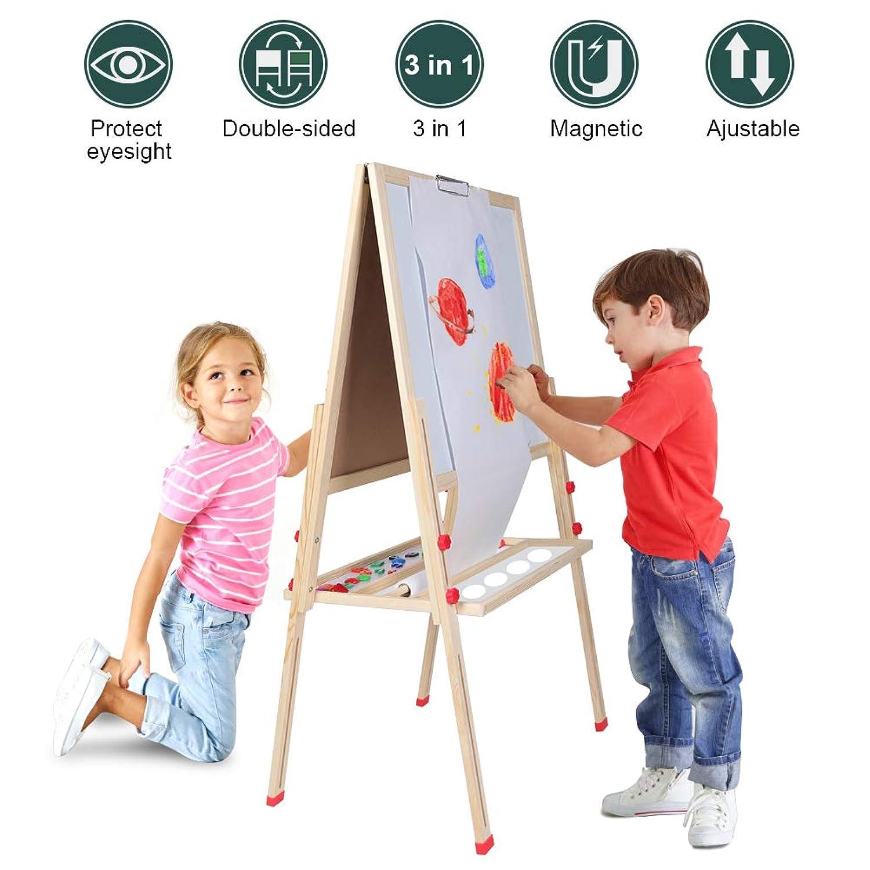 調節可能な子供用アートイーゼル両面ホワイトボード黒板 木製子供用イーゼルホワイトボード スタンディング 幼児用絵描きイーゼル マグネットアルファベットと数字 男の子 女の子用