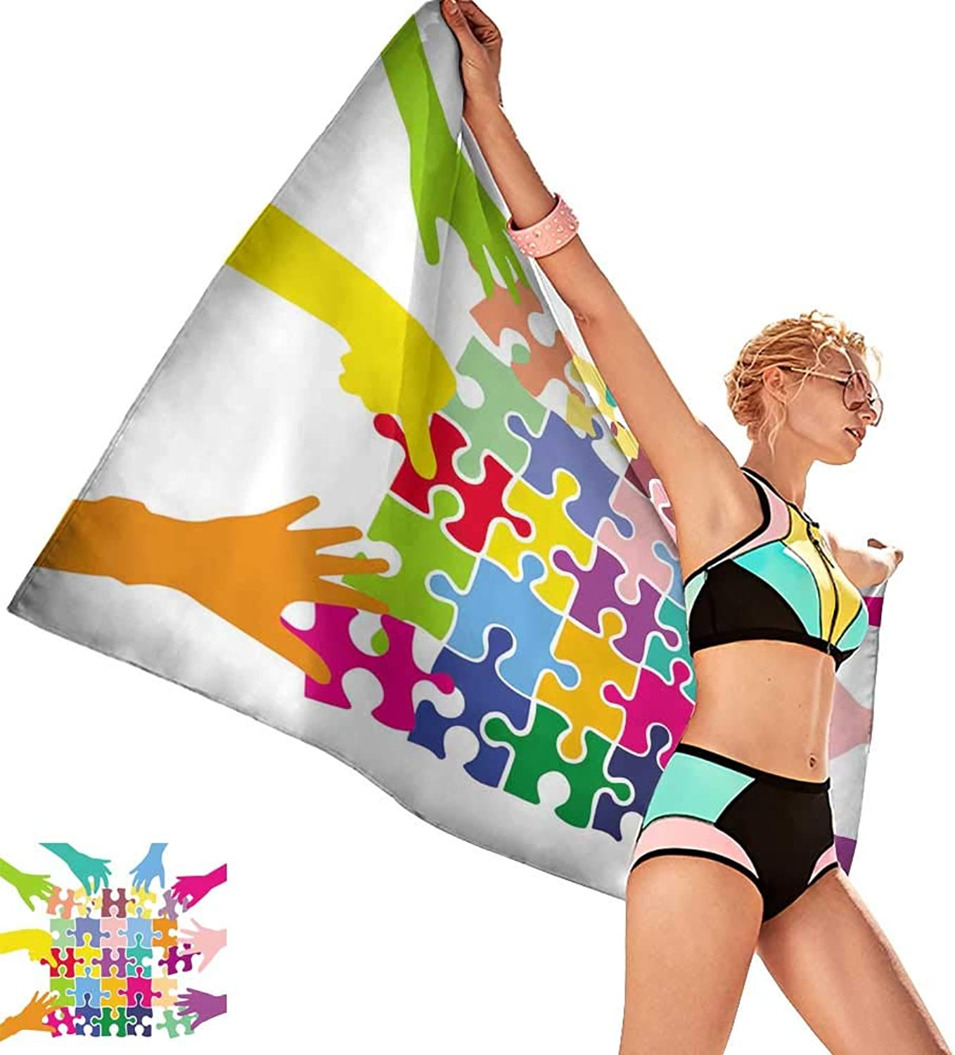Homehot Sauna Towel Team Play with colorful Puzzle Pieces Social Games Mutual aid Various Characters,W28 xL55 for Youth Girls Cotton