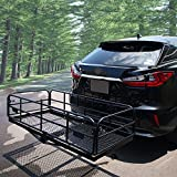 OKLEAD 400 Lbs Heavy Duty Hitch Mount Cargo Carrier 60' x 24' x 14.4' Folding Cargo Rack Rear Luggage Basket Fits 2' Receiver for Car SUV Camping Traveling