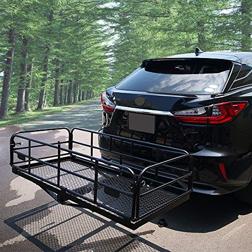 "OKLEAD 400 Lbs Heavy Duty Hitch Mount Cargo Carrier 60"" x 24"" x 14.4"" Folding Cargo Rack Rear Luggage Basket Fits 2"" Receiver for Car SUV Camping Traveling"