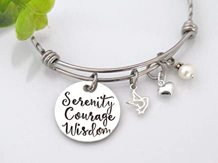 0db0a46f19 Serenity Prayer Bracelet for Women - Stainless Steel and Sterling Silver -  Gift for Her -