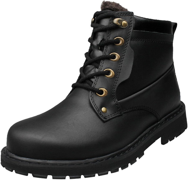 Snowman Lee Men's Leather Leisure High-Top Boots Snow Boots shoes