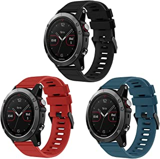 OenFoto Band Compatible Fenix 5 22mm, Soft Silicone Replacement Wristband for Garmin Fenix 5/Fenix 5 Plus/Forerunner 935/Approach S60/Quatix 5 3-Packs Black/Red/Slate Blue
