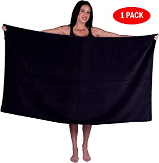 Turquoise Textile 100% Turkish Cotton Eco-Friendly Oversize Solid Pool Beach Towel, 35x60 Inch (1 Pack, Black)