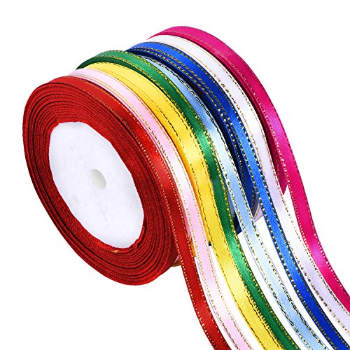 Shappy 8 Rolls 1/4 Inch by 25 Yard Satin Ribbon Double Face Ribbon Fabric Ribbon with Golden Edges, 8 Colors