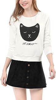 Allegra K Women`s Lovely Cat Prints Crew Neck Long Sleeves Top Shirt