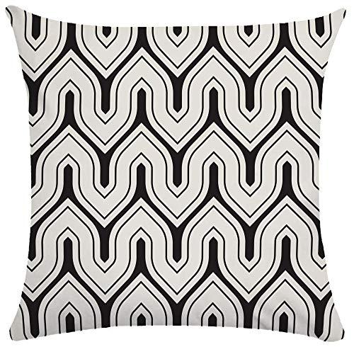 Caogsh 2 fundas de cojín, almohada lumbar de felpa corta, funda de almohada para sofá, funda de almohada creativa con patrón de textura geométrica en blanco y negro, algodón mixto, Zt001838, 50x50cm(Single side printing)
