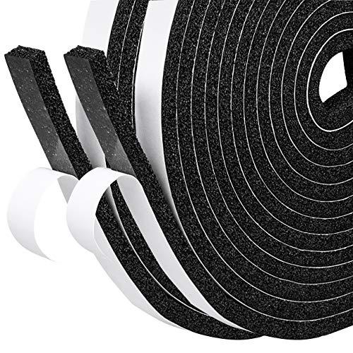 fowong Schaumstoff Selbstklebend Klebeband 12mm(B) x6mm(D) Türdichtung Dichtband Klimaanlage Kollision Siegel Schalldämmung Kompriband Gesamtlänge 8m (2 Rollen je 4m lang) Schwarz