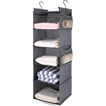 MAX Houser 5 Shelf Hanging Closet Organizer,Space Saver, Cloth Hanging Shelves with 4 Side Pockets,Foldable,Grey