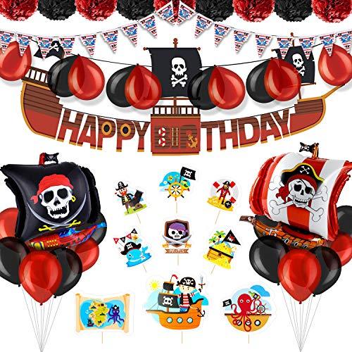 PushingBest Geburtstagsdeko, Piraten Geburtstag Party Deko Set, Alles Gute zum Geburtstag Banner, Dreieck Flagge, Papiergewebe Pompons, Folien Luftballons Latex Luftballons und Cake Topper