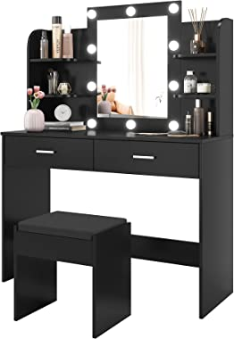 POVISON Large Vanity Desk with 10 Light Bulbs, Makeup Vanity Table Set with 2 Drawers and 6 Storage Shelves, Dressing Table w