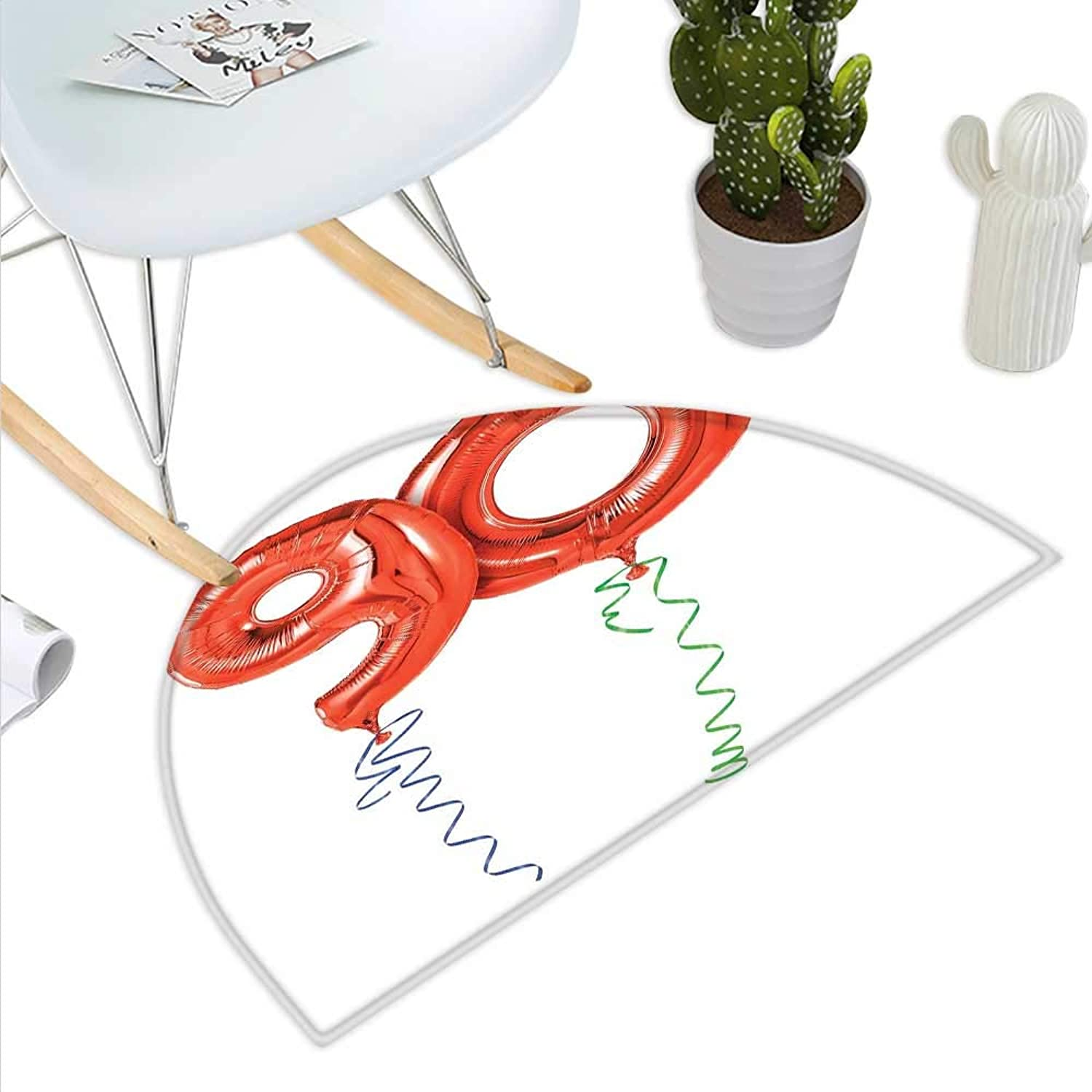 90th Birthday Semicircle Doormat Flying Balloons and Party Objects Curly Swirled Ribbons Surprise Event Halfmoon doormats H 47.2  xD 70.8  Red Green bluee