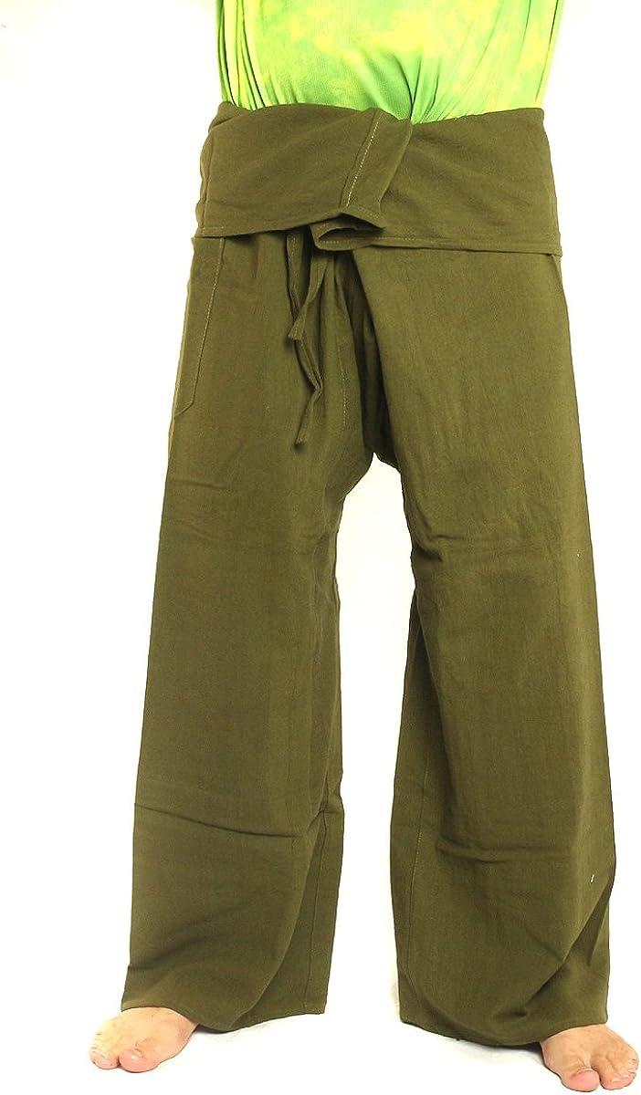 jing shop Men's outlet Thai Fisherman Pants Col Extra Solid Kansas City Mall Cotton Long