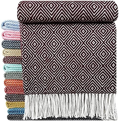 Baumwolldecke sehr weiches Plaid Wohndecke Kuscheldecke in versch. Farben Baumwolle Marbella (140 x 200 cm, Dunkelrot-Lila-V)