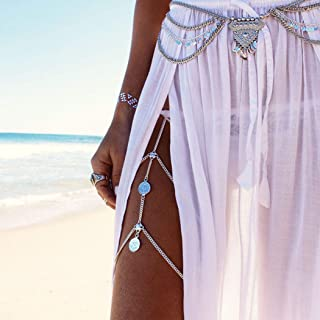 Nicute Festival Coin Leg Chain Layered Thigh Chains Sexy Body Jewelry for Women and Girls (Silver)