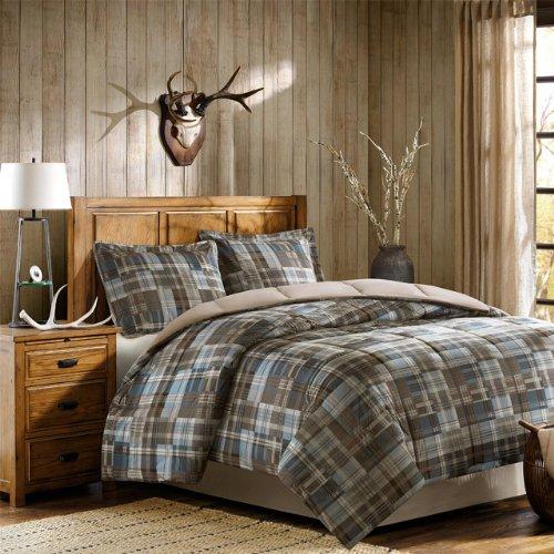 Woolrich Plaid Bed Comforter Set Ultra Soft Microfiber 3 Pieces Bedding Sets – Bedroom Comforters, King, Grey/Blue