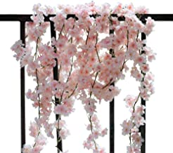 Idubai 4 Pack Artificial Cherry Blossom Wall Hanging Cherry Vine Silk Floral Garland Flowers String Fake Flowers Garland f...