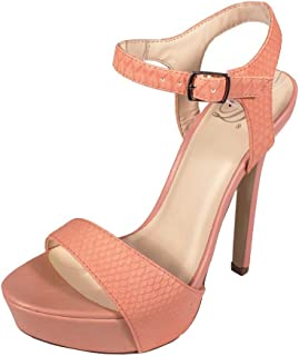 Delicious Women's Odion Open Toe Ankle Strap High Heeled Platform Sandals, Salmon Embossed Leatherette
