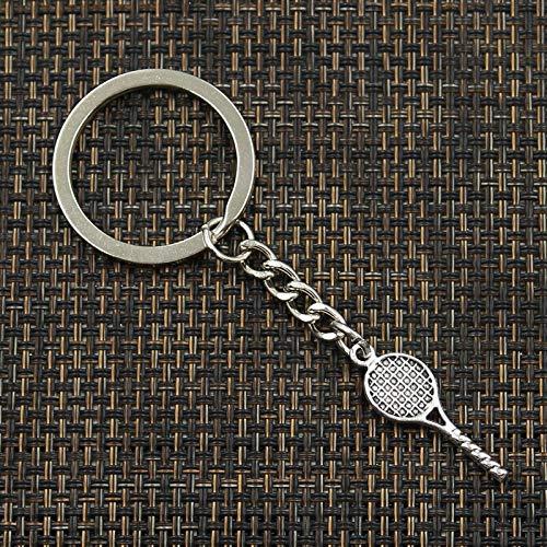 SUNSK Moda 30mm Llavero Llavero de Metal Llavero joyería Antiguo Color Plateado Raqueta de Tenis Colgante 30x10mm