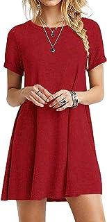 Yoins - Mini vestido de manga corta para mujer, estilo casual, suelto, cuello redondo, mini vestido, camiseta larga