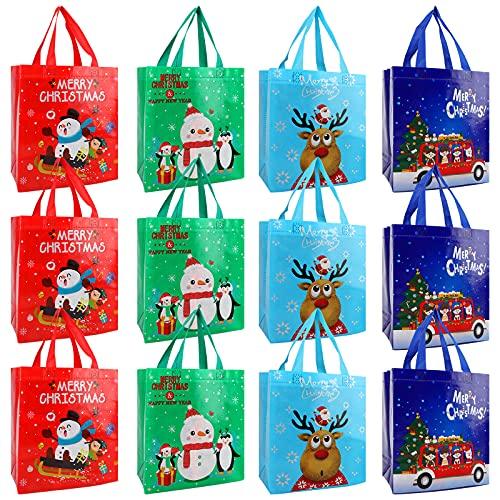 Bolsas de la compra reutilizables,12Pcs Bolsas navideñas no tejidas Bolsas navideñas con asas Bolsas de regalo navideñas Bolsa de regalo Bolsa de compras para regalos de Navidad Envoltura de compras