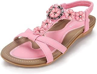 Women's Summer Sandals Casual Comfortable Flip Flops Beach Shoes Ankle T-Strap Thong Elastic Flat Sandals for Women