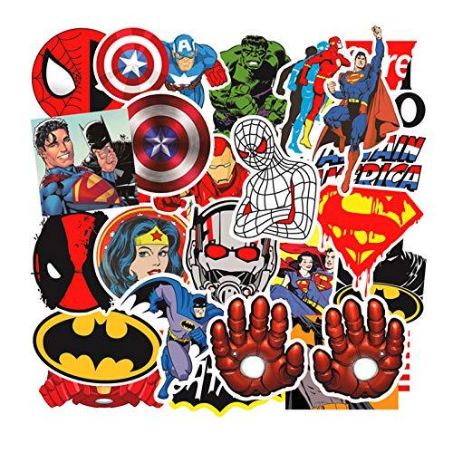 50 Pezzi Kit Adesivi Marvel Graffiti, Supereroi Stickers Tumblr Vinyl Avengers Legends Decals per Bambini Adolescenti, Adulti, Laptop, Auto, Moto, Biciclette, Skateboard, Valigia (A)