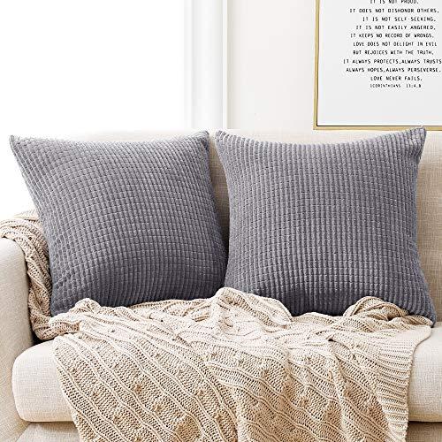 Deconovo Kissenbezug Kordsamt Zierkissenbezug Dekorativen Kissenhüllen Weiches Massiv Kissen für Sofa Couch Schlafzimmer Hellgrau 40x40 cm 2er Set