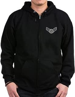 USAF: A1C E-3 (ABU) - Zip Hoodie, Classic Hooded Sweatshirt with Metal Zipper