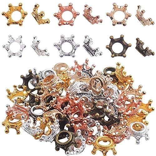 Aylifu Coronas Cuentas Conjunto,60 Piezas Encantos en Forma Corona Colgantes de Cuentas Sueltas Accesorios para Fabricación de Joyas,6 Colores